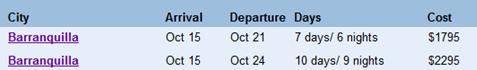 barranquilla tour schedule
