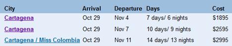 cartagena tour schedule
