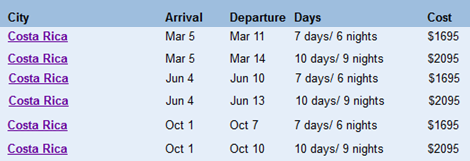 costa rica tour schedule
