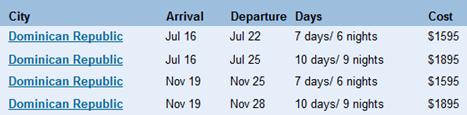 dominican republic schedule