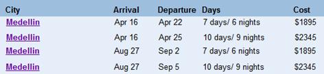 medellin tour schedule