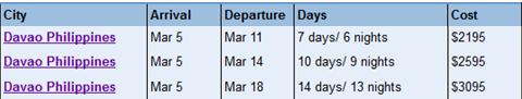 phillippines tour schedule